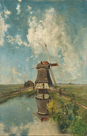 a-windmill-on-a-polder-waterway